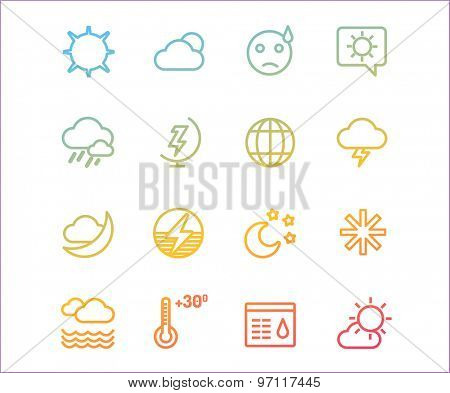 Weather icons vector outline set. Moon, sky or wind and cloud symbols. Stocks Design Element