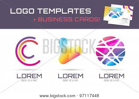 Vector logo and business card template. Abstract arrow shape or symbol, icon or creative, idea, identity. Stock illustration. Isolated on white background