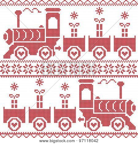 Scandinavian Christmas Nordic Seamless Pattern with gravy train, gifts, stars, snowflakes, hearts, s