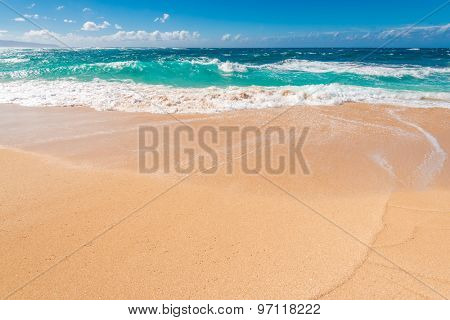 Beautiful beach and tropical sea. Sand and water vacation background.