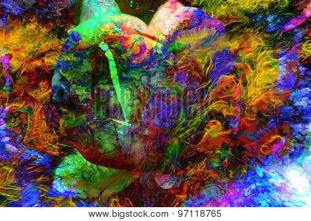 abstract color Backgrounds, painting collage, Fire fractal effect, red, yeloow and orange  collage