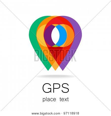 GPS - the sign location. Template logo.