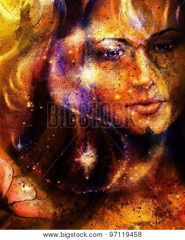 Beautiful Woman In Star Dust And Symbol Jin Jang And Flower. Abstract Spots Background.