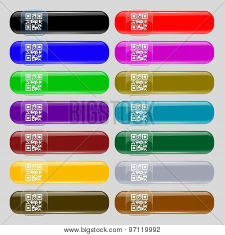 Qr Code Icon Sign. Set From Fourteen Multi-colored Glass Buttons With Place For Text. Vector