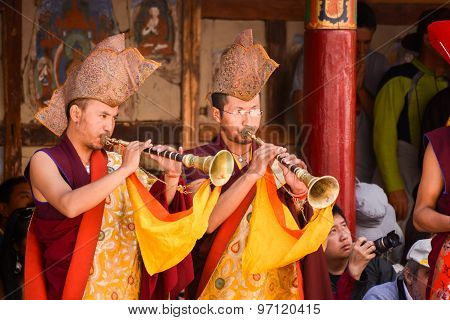 Tibetan Buddhist Monks In The Hemis Festival