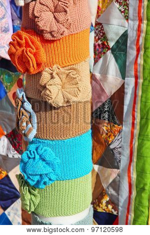Color Clothing Accessory And Multicolored Patchwork Quilt.