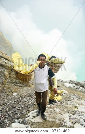 Sulfur Miner In Kawah Ijen, Java, Indonesia