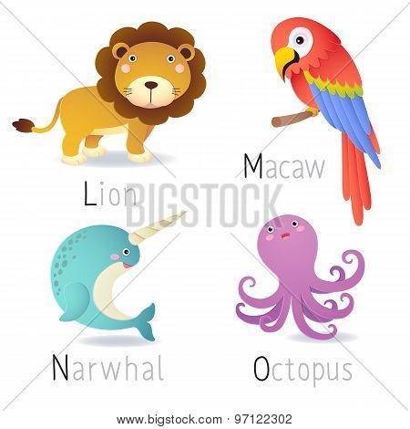 Alphabet With Cartoon Animals From L To O