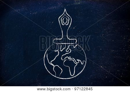 Yoga Meditation: Person Sitting In Lotus Position Above The World