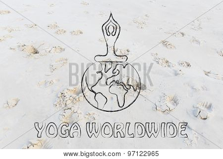 Yoga Worldwide: Person Sitting In Lotus Position Above The World