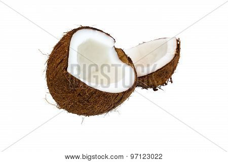 Two Parts Of Brown Coconut Isolated On White Background