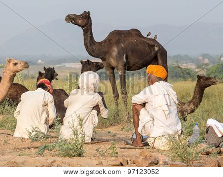 Indian men attended the annual Pushkar Camel Mela.
