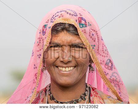 Beggar Indian Woman In Pushkar, India