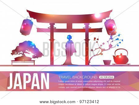 Japan travel background with place for text. Isolated Japan shining sightseeings and symbols. Geomet