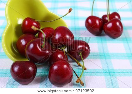 Fresh Cherries In Green Bowl On Checkered Tablecloth, Healthy Food