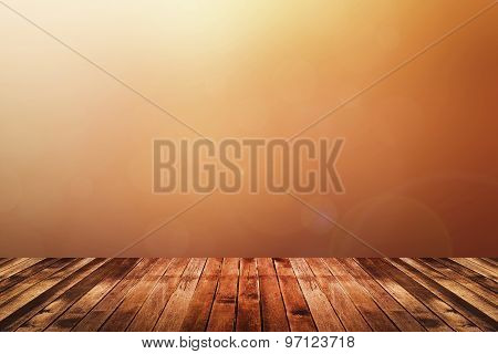 Wooden Floor With Warm Tone Blurred Background