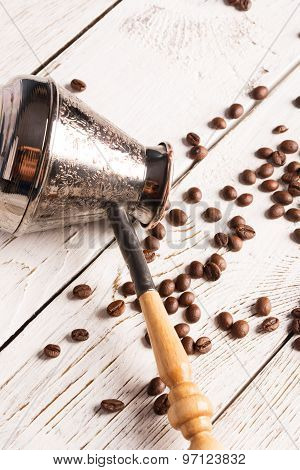 Coffee Pot And Scattered Coffee