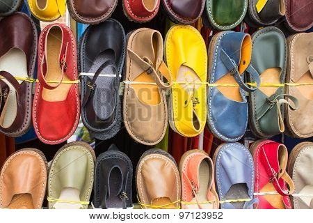 Colorful Leather Shoes In Bazaar