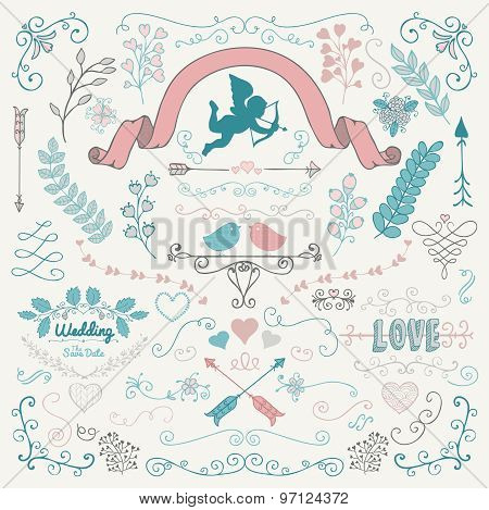 Vector Hand Sketched Rustic Flourish Design Elements
