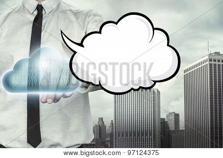 Blank speech bubble on cloud computing theme with businessman