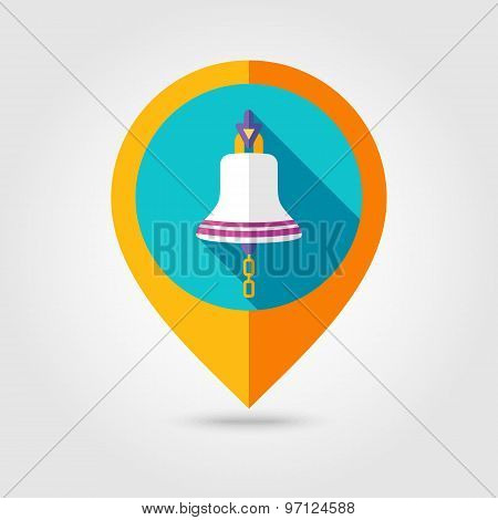 Bell Marine Flat Mapping Pin Icon With Long Shadow