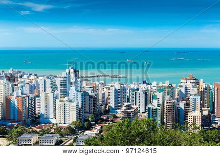 Panoramic view of Vila Velha in Vitoria, Espirito Santo, Brazil