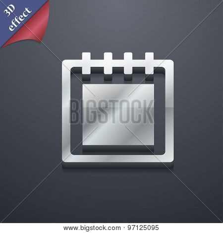 Notepad Icon Symbol. 3D Style. Trendy, Modern Design With Space For Your Text Vector