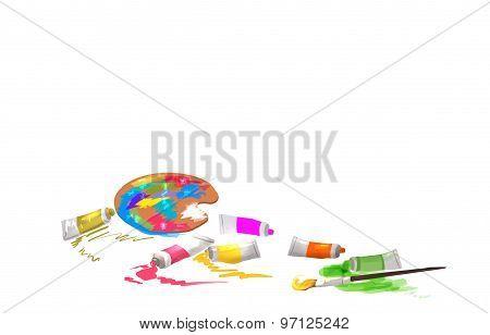 paint brushes on ground illustration