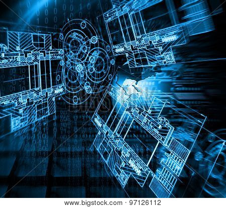 Technology background, from series best concept of global business. Abstract blue background.