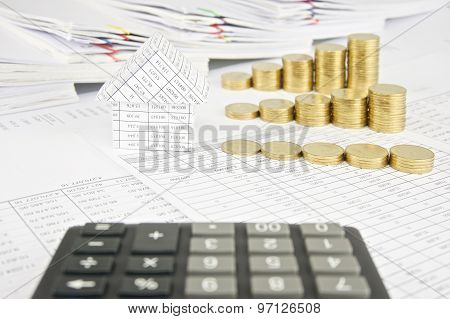 House And Group Step Pile Of Gold Coins