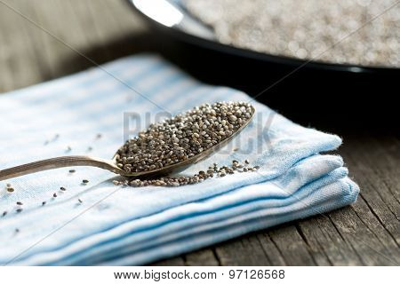 the chia seeds in spoon