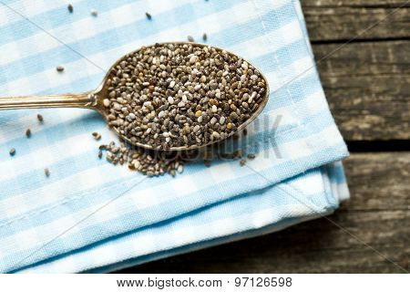 top view of chia seeds in spoon