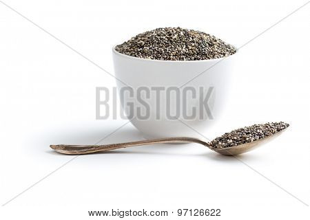 chia seeds in spoon on white background