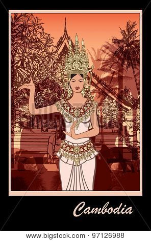 Apsara Dancer in Cambodia - vector illustratio