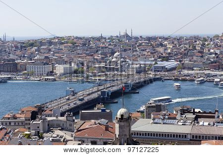 ISTANBUL, TURKEY - MAY 11, 2015: Photo View of the city center and the bridge across the Golden Horn