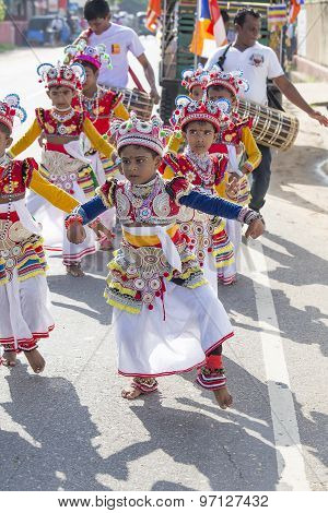 Sri Lanka children involved in the Katina festival which held according to the buddhist culture in f