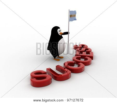 3D Penguin With Success Text And Success Flag In Hand Concept