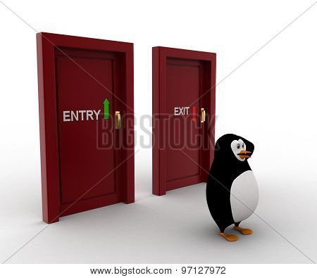 3D Penguin Looks Confused In Front Of Entry And Exit Doors Concept