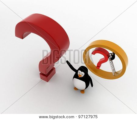 3D Penguin Present Question Mark And Small Penguin Climb It Using Ladder Concept