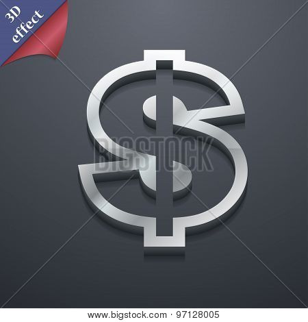 Dollar Icon Symbol. 3D Style. Trendy, Modern Design With Space For Your Text Vector