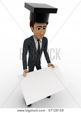 3D Man With Graduation Cap And Banner Concept