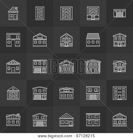 Building line icons set