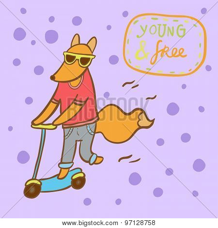 Hipster fox riding scooter vector illustration. Lettering young and free.