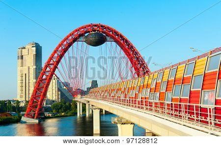 Zhivopisny suspension bridge landscape in Moscow, Russia