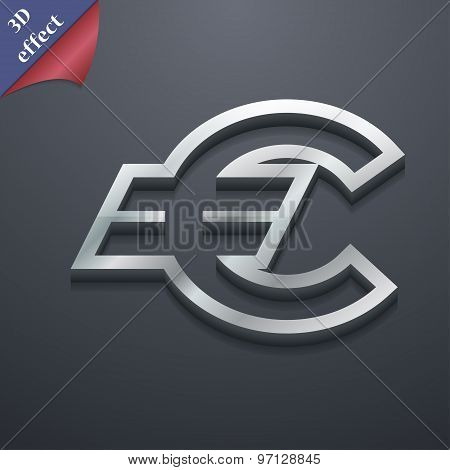 Euro Eur Icon Symbol. 3D Style. Trendy, Modern Design With Space For Your Text Vector