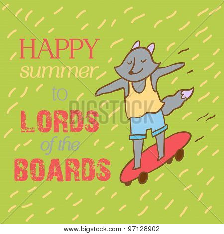 Hipster Wolf Riding Longboard Lettering Poster