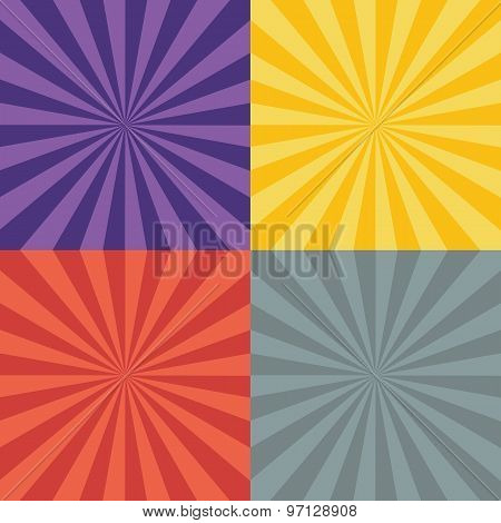 Collection Of Four Burst Backgrounds. Violet Lines, Yellow Lines, Red Lines And Grey Lines.