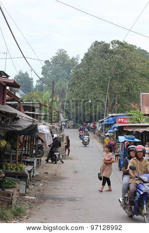 Traditional Street Market In The Sulawesi