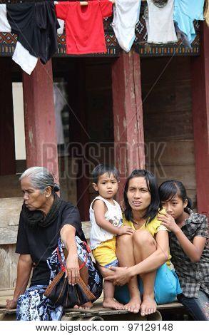 Portrait Of A Poor Torajan Family