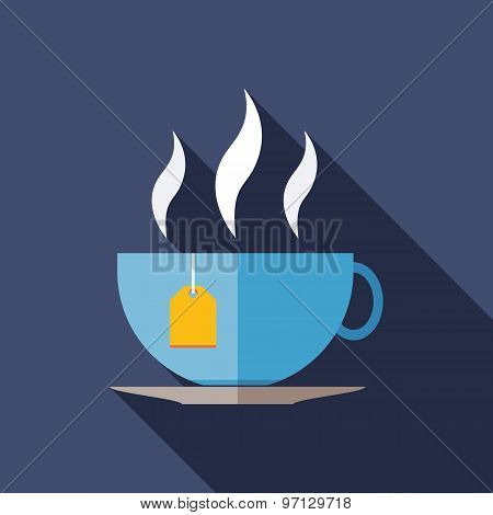 Tea Icon. Flat Vector Icon With Long Shadow Design Collection.